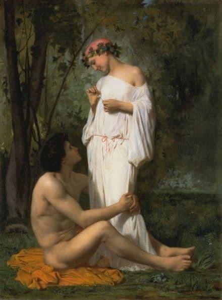 Bouguereau, William Adolphe: Idyll. Fine Art Print/Poster. Sizes: A4/A3/A2/A1 (001620)