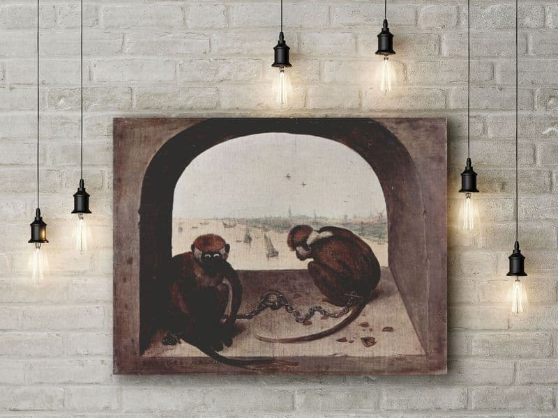 Breugel the Elder: Two Chained Monkeys. Fine Art Canvas.