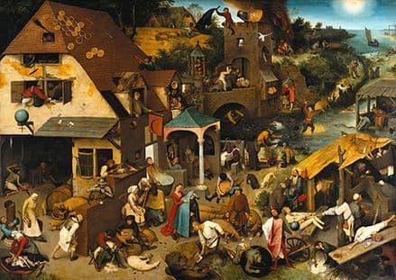 Bruegel the Elder, Pieter: Netherlandish Proverbs. Fine Art Print/Poster. Sizes: A4/A3/A2/A1 (00864)