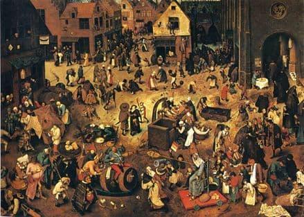 Bruegel the Elder, Pieter: The Fight between Carnival and Lent. Fine Art Print/Poster. Sizes: A4/A3/A2/A1 (00863)
