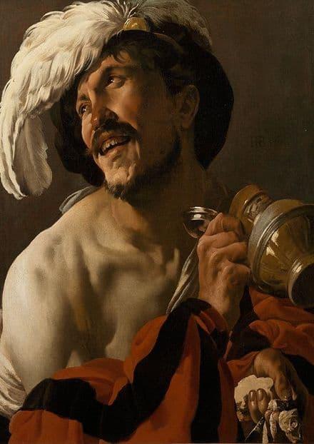 Brugghen, Hendrick Ter: The Merry Drinker. Fine Art Print/Poster. Sizes: A4/A3/A2/A1 (002162)