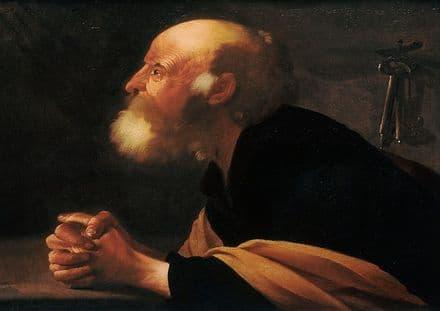Brugghen, Hendrick Ter: The Repentant Peter. Fine Art Print/Poster. Sizes: A4/A3/A2/A1 (002163)
