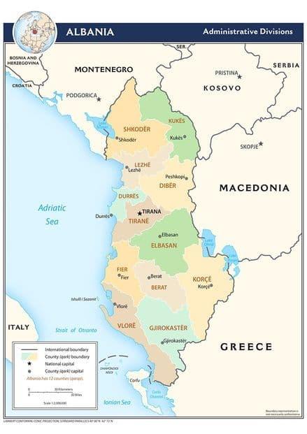 CIA Administrative Map of Albania 2009 Print/Poster (5207)