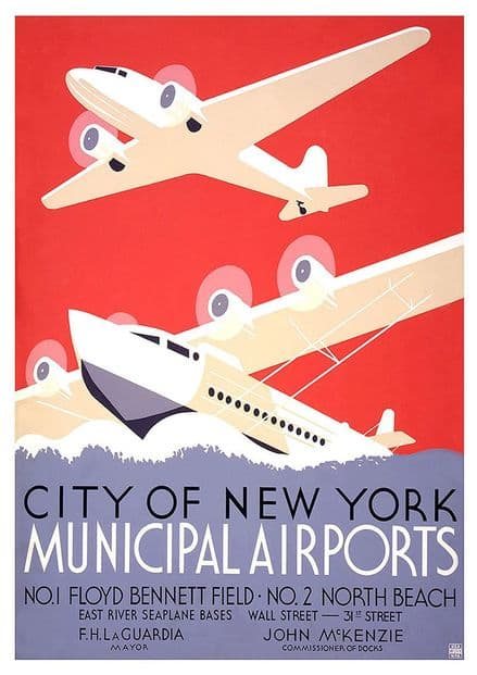 City of New York Municipal Airports. Vintage Travel Print/Poster. Sizes: A4/A3/A2/A1 (002695)