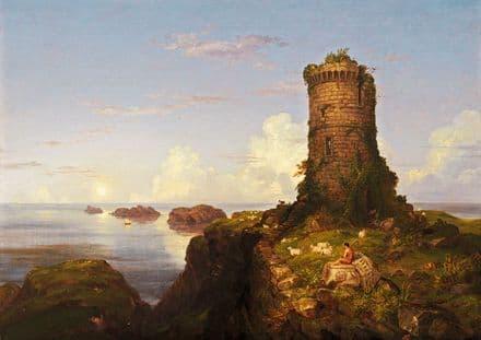 Cole, Thomas: Italian Coast Scene With Ruined Tower. Fine Art Print/Poster (5467)