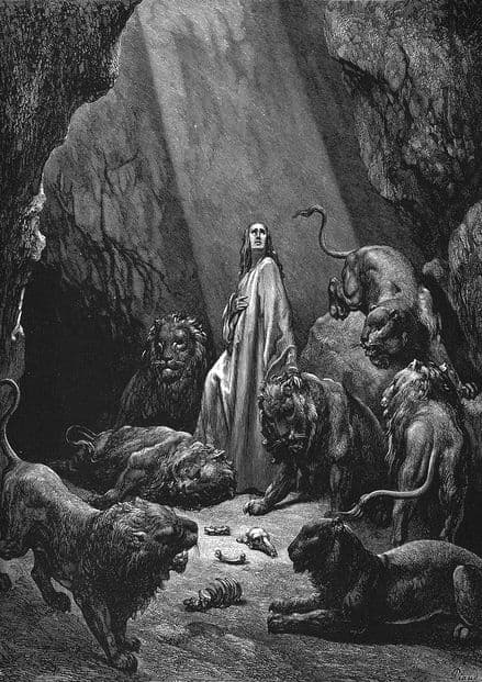Dore, Gustave: Daniel In The Lions' Den. Fine Art Print/Poster (4927)