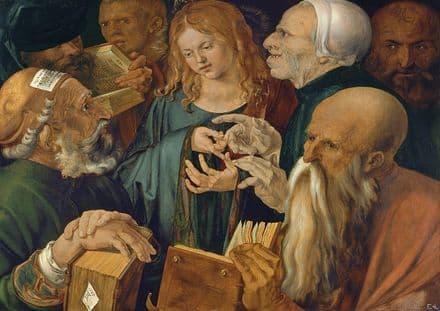 Durer, Albrecht: Christ Among the Doctors. Fine Art Print/Poster. Sizes: A4/A3/A2/A1 (00164)