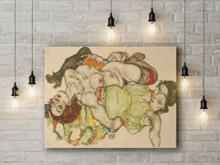 Egon Schiele: Female Lovers. Fine Art Canvas.