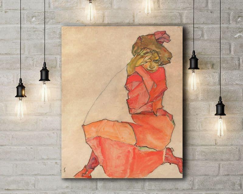 Egon Schiele: Kneeling Female in Orange-Red Dress. Fine Art Canvas.