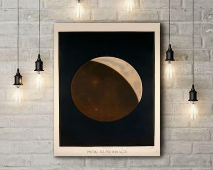 Etienne Leopold Trouvelot: Partial Eclipse of the Moon. Vintage Style Canvas.