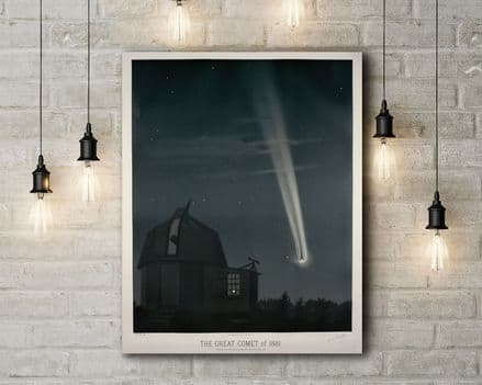 Etienne Leopold Trouvelot The Great Comet of 1881. Vintage Style Canvas.