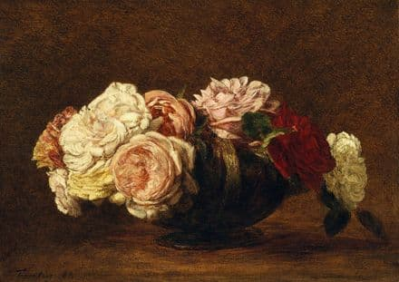 Fantin-Latour, Henri: Roses in a Bowl. Fine Art Print/Poster (4939)