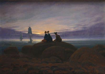 Friedrich, Casper David: Moonrise Over the Sea. Fine Art Print/Poster. Sizes: A4/A3/A2/A1 (003897)