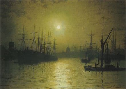 Grimshaw, John Atkinson: Nightfall on the Thames. Fine Art Print/Poster. Sizes: A4/A3/A2/A1 (003329)