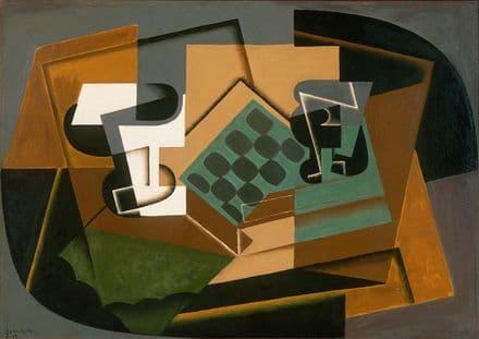 Gris, Juan: Chessboard, Glass and Dish. Fine Art Print/Poster. Sizes: A4/A3/A2/A1 (003115)