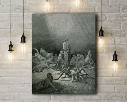 Gustav Dore: Dante and Virgil Looking at the Spider Woman. Fine Art Canvas.