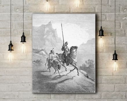 Gustave Dore: Don Quixote and Sancho Setting Out. Fine Art Canvas.