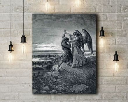 Gustave Dore: Jacob Wrestling with the Angel. Fine Art Canvas.