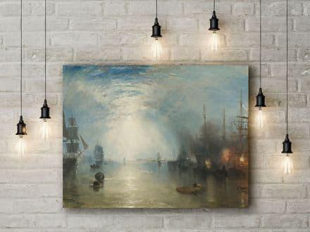 J.M.W Turner: Keelmen Heaving in Coals by Moonlight. Fine Art Canvas.