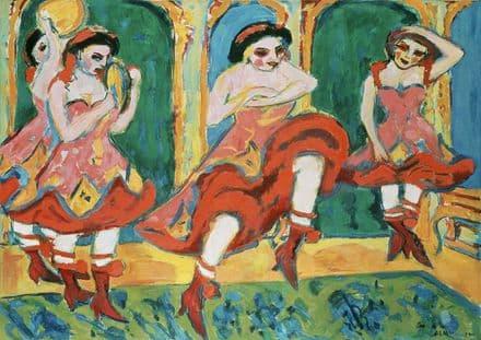Kirchner, Ernst Ludwig: Czardas Dancers. Fine Art Print/Poster. Sizes: A4/A3/A2/A1 (00495)