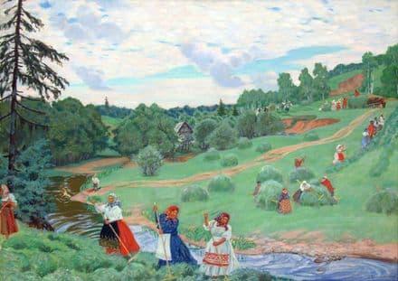 Kustodiev, Boris: Haymaking. Fine Art Print/Poster. Sizes: A4/A3/A2/A1 (002188)