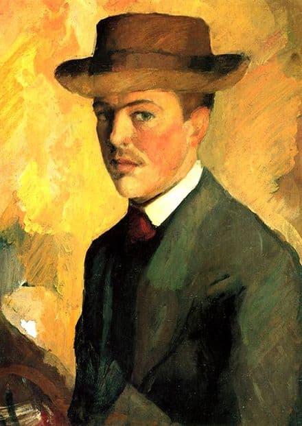 Macke, August: Self Portrait. Fine Art Print/Poster. Sizes: A4/A3/A2/A1 (002177)