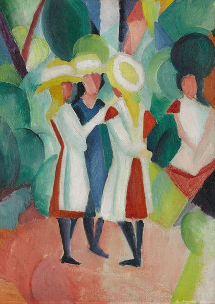 Macke, August: Three Girls in Yellow Straw Hats. Fine Art Print/Poster. Sizes: A4/A3/A2/A1 (002175)