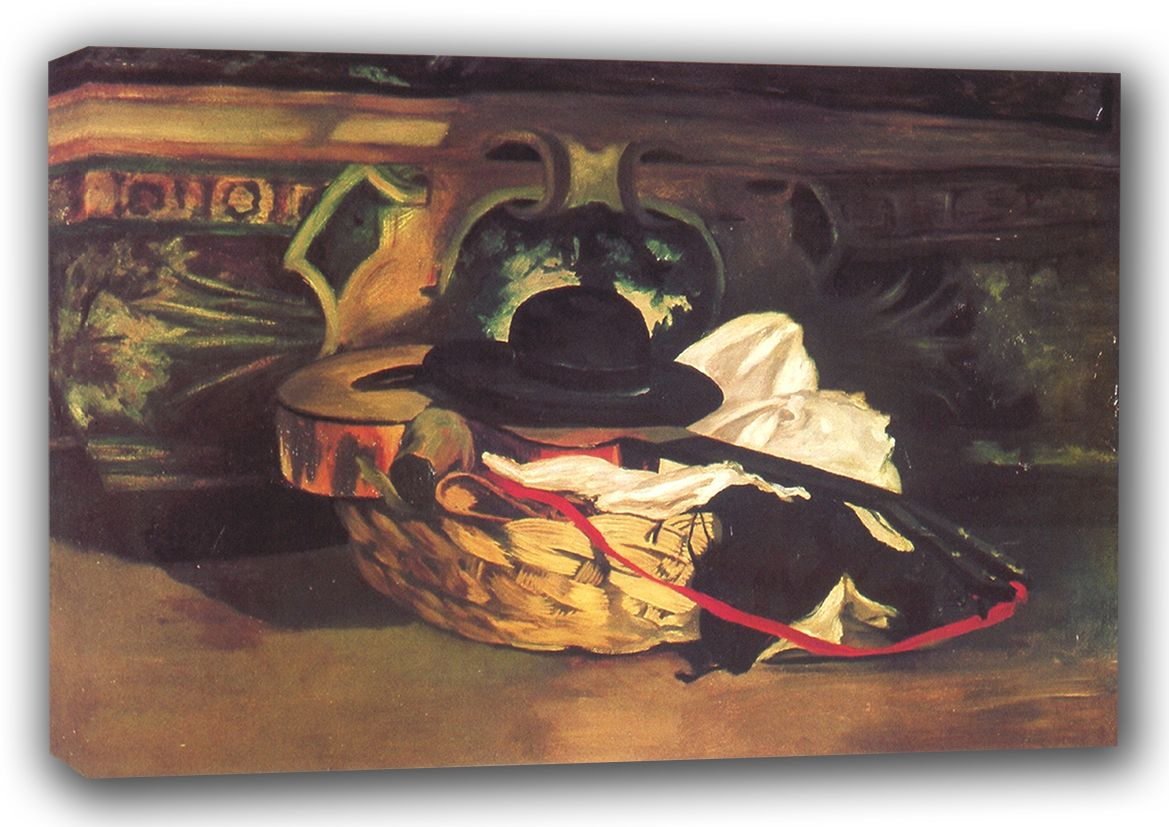 Manet, Edouard: Guitar and Sombrero (Hat) Still Life. Fine Art Canvas. Sizes: A3/A2/A1 (00676)