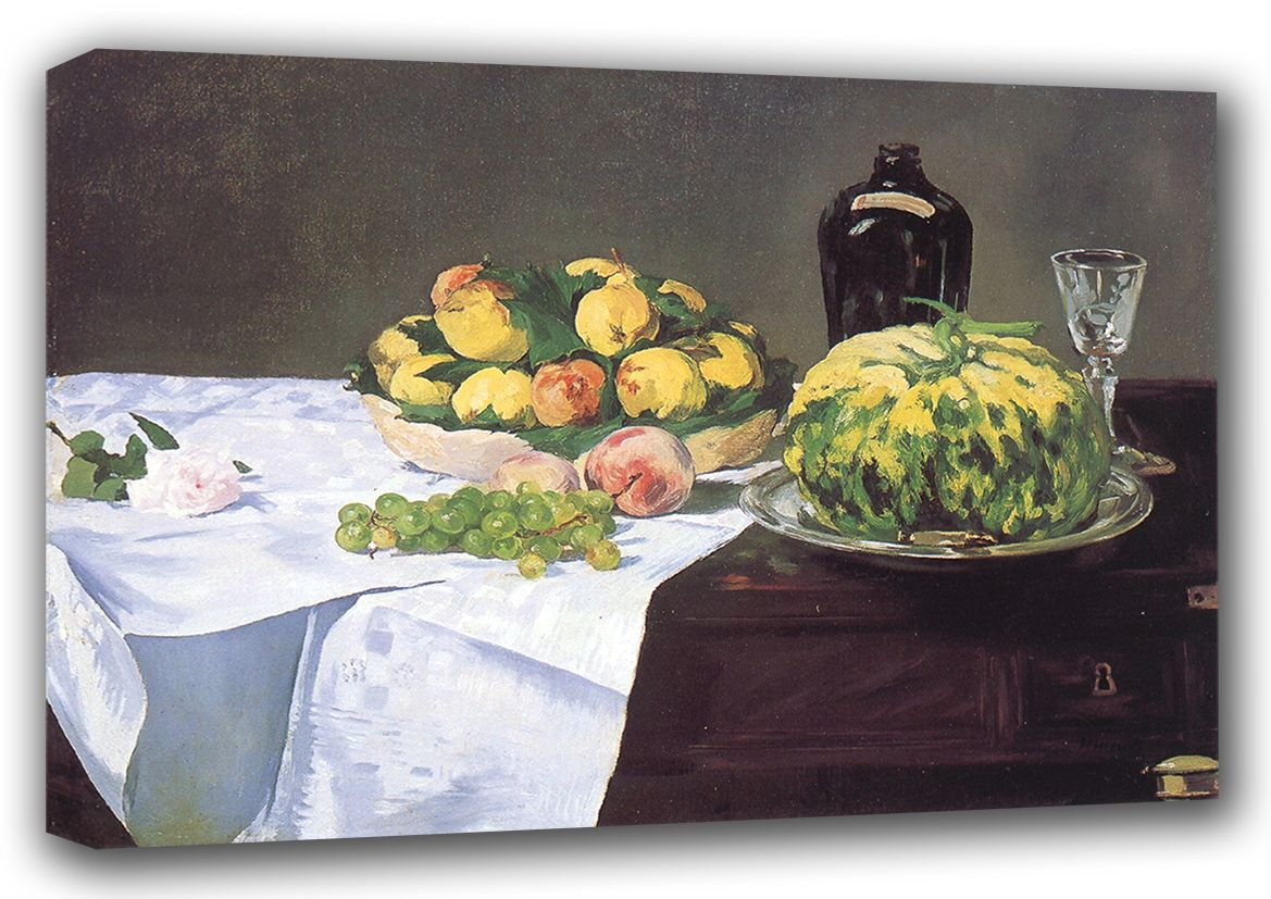 Manet, Edouard: Still Life with Fruit (Melon and Peaches). Fine Art Canvas. Sizes: A3/A2/A1 (00683)