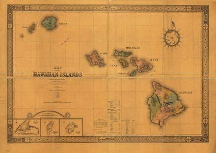 Map of The Hawaiian Islands Hawaii 1876 Antique Reprint Print/Poster (5378)