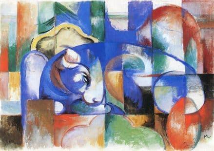 Marc, Franz: Lying Bull. Fine Art Animal Print/Poster. Sizes: A4/A3/A2/A1 (00547)