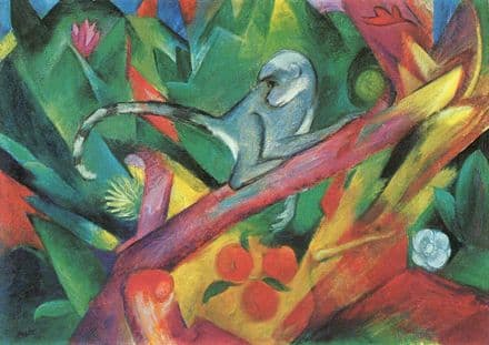 Marc, Franz: The Monkey. Fine Art Animal Print/Poster. Sizes: A4/A3/A2/A1 (003311)