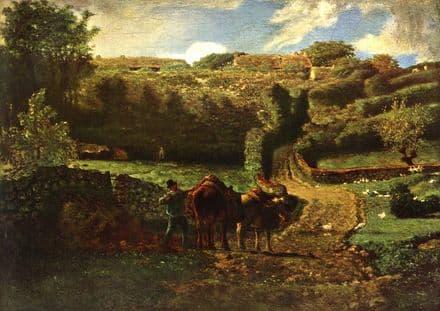 Millet, Jean-Francois: Farmer with Cows. Fine Art Print/Poster. Sizes: A4/A3/A2/A1 (00708)