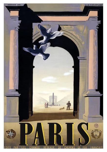 Paris. Vintage French Travel Print/Poster. Sizes: A4/A3/A2/A1 (002705)