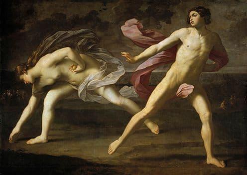Reni, Guido: Hippomenes and Atalanta. Mythology Fine Art Print/Poster. Sizes: A4/A3/A2/A1 (002098)