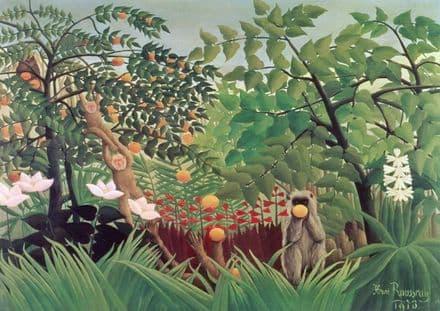 Rousseau, Henri: Exotic Landscape, 1910. Fine Art Print/Poster. Sizes: A4/A3/A2/A1 (003524)