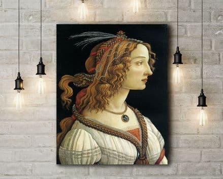 Sandro Botticelli: Portrait of a Young Woman. Fine Art Canvas.