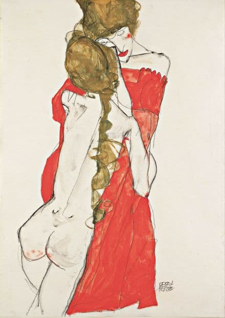 Schiele, Egon: Mother and Daughter. Fine Art Print/Poster. Sizes: A4/A3/A2/A1 (003693)