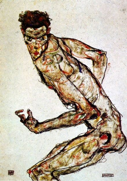 Schiele, Egon: The Fighter, 1913. Fine Art Print/Poster. Sizes: A4/A3/A2/A1 (00151)
