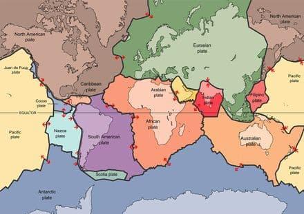 Tectonic Plates Map. Print/Poster (5377)