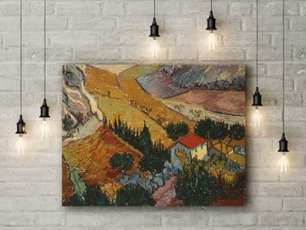 Vincent Van Gogh: Landscape with House and Ploughman. Fine Art Canvas.