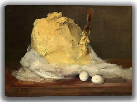 Vollon, Antoine: Mound of Butter. Fine Art Canvas. Sizes: A4/A3/A2/A1 (003949)