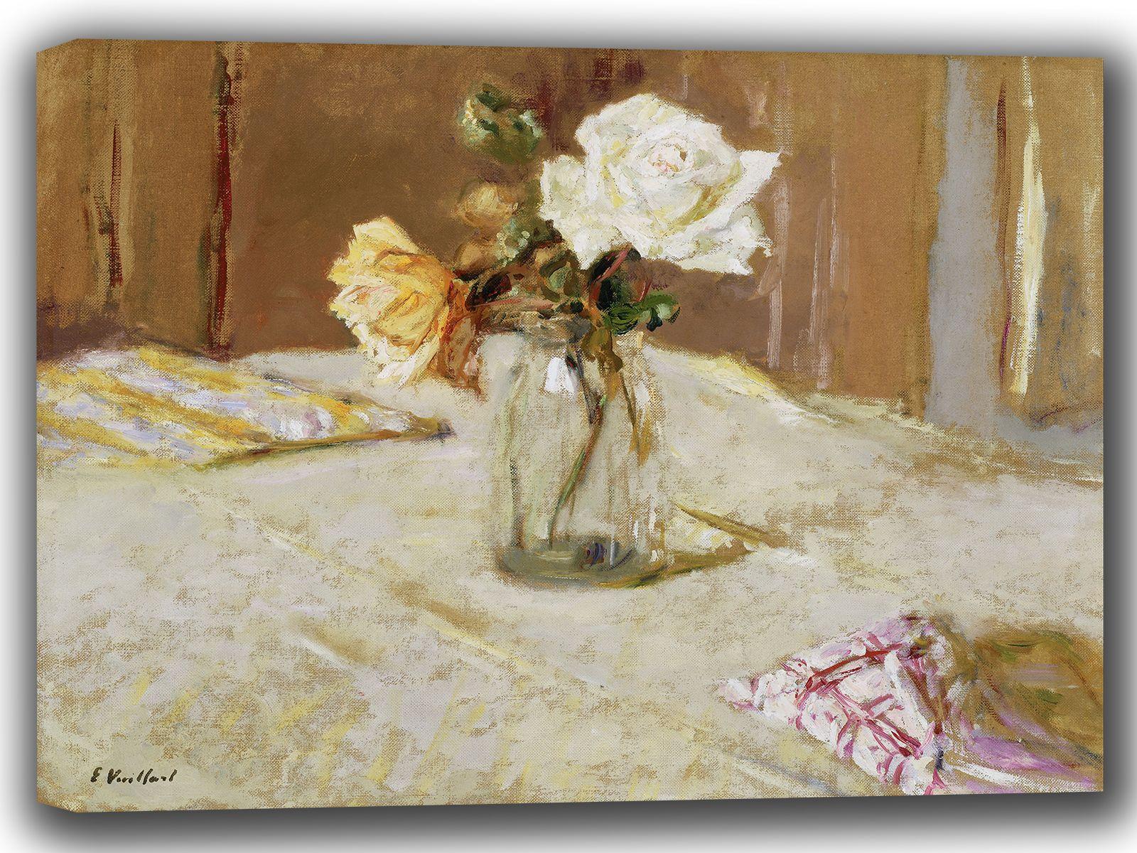 Vuillard, Edouard: Roses in a Glass Vase. Fine Art Canvas. Sizes: A4/A3/A2/A1 (002207)