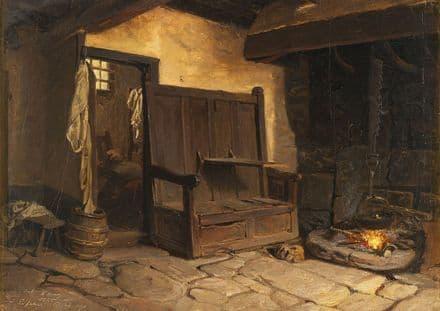 Wallander, Josef Wilhelm: A Cottage Interior. Fine Art Print/Poster (5440)
