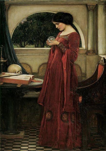 Waterhouse, John William: The Crystal Ball. Mystical Fine Art Print/Poster. Sizes: A4/A3/A2/A1 (00847)