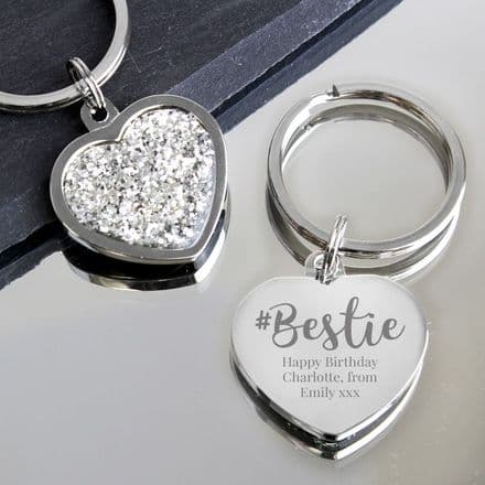 #Bestie Diamante Heart Keyring