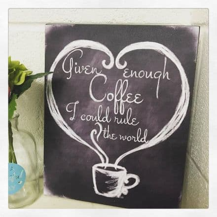 30% OFF Given Enough Coffee I could Rule The World Sign