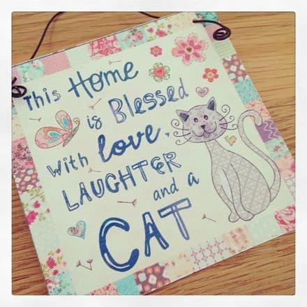 50% ff Mini Metal Hanging Sign- Love, Laughter & A Cat
