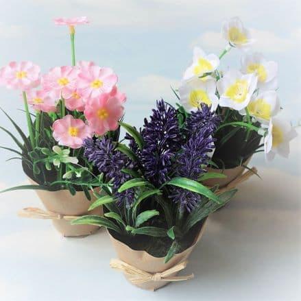 50% off Artificial  Flowers In Pots (set of 3)