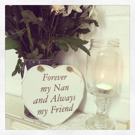 50% off Forever My Nan Always My Friend Hanging Wooden Heart